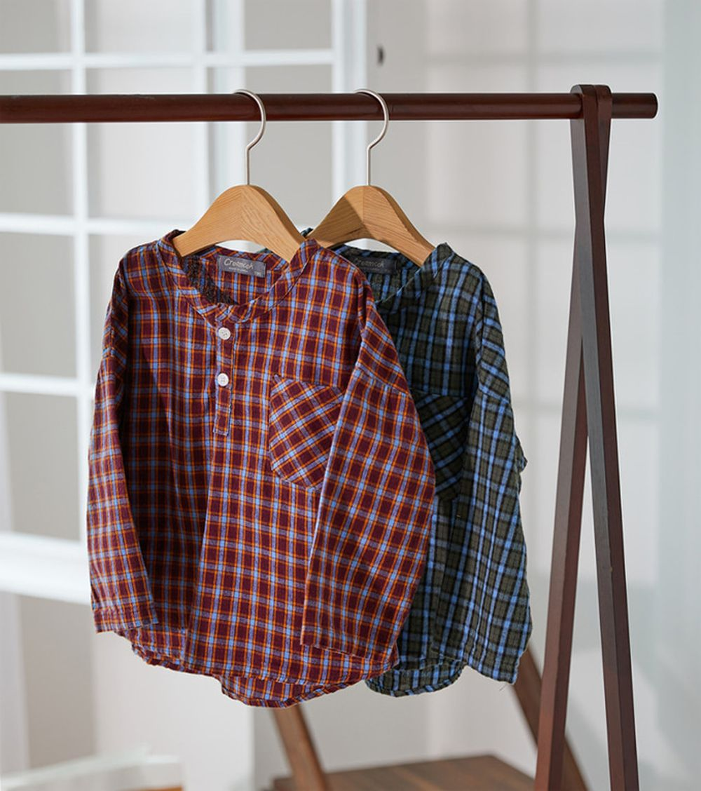 CREAMCOK - BRAND - Korean Children Fashion - #Kfashion4kids - Little Check Henrly Shirt