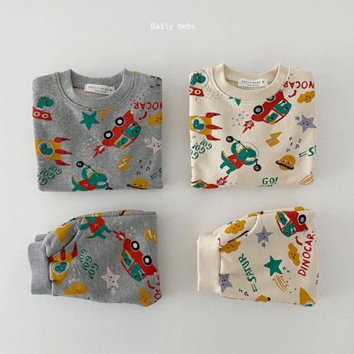 DAILY BEBE - BRAND - Korean Children Fashion - #Kfashion4kids - Universe Dino Top Bottom Set