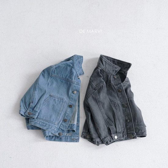 DE MARVI - Korean Children Fashion - #Kfashion4kids - Collar Denim Jacket
