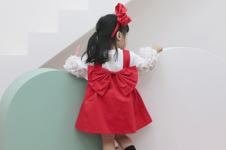 FLOWER J - BRAND - Korean Children Fashion - #Kfashion4kids - Big Ribbon One-piece