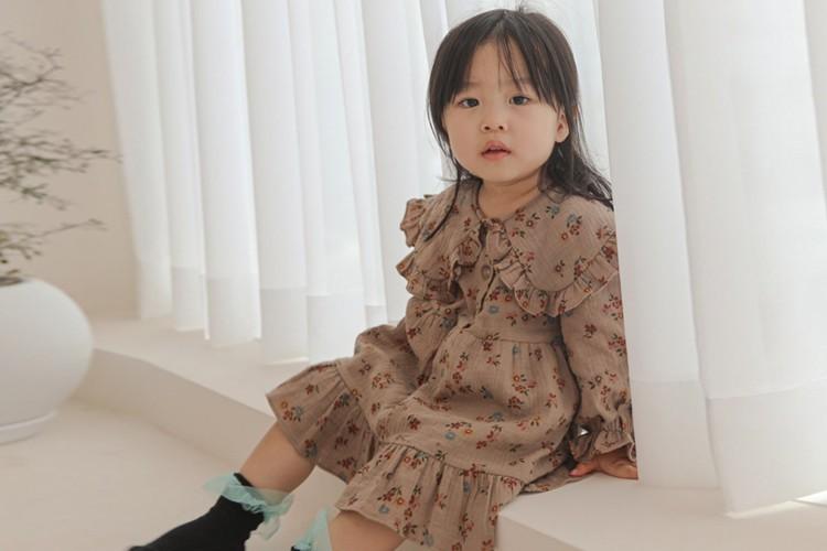 FLOWER J - BRAND - Korean Children Fashion - #Kfashion4kids - Flower Big Collar One-piece
