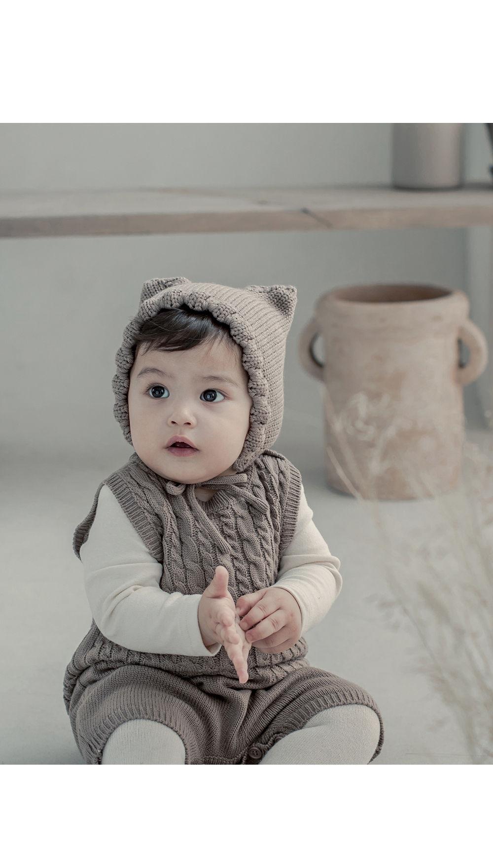 HAPPY PRINCE - Korean Children Fashion - #Kfashion4kids - Fla Knit Baby Bonnet