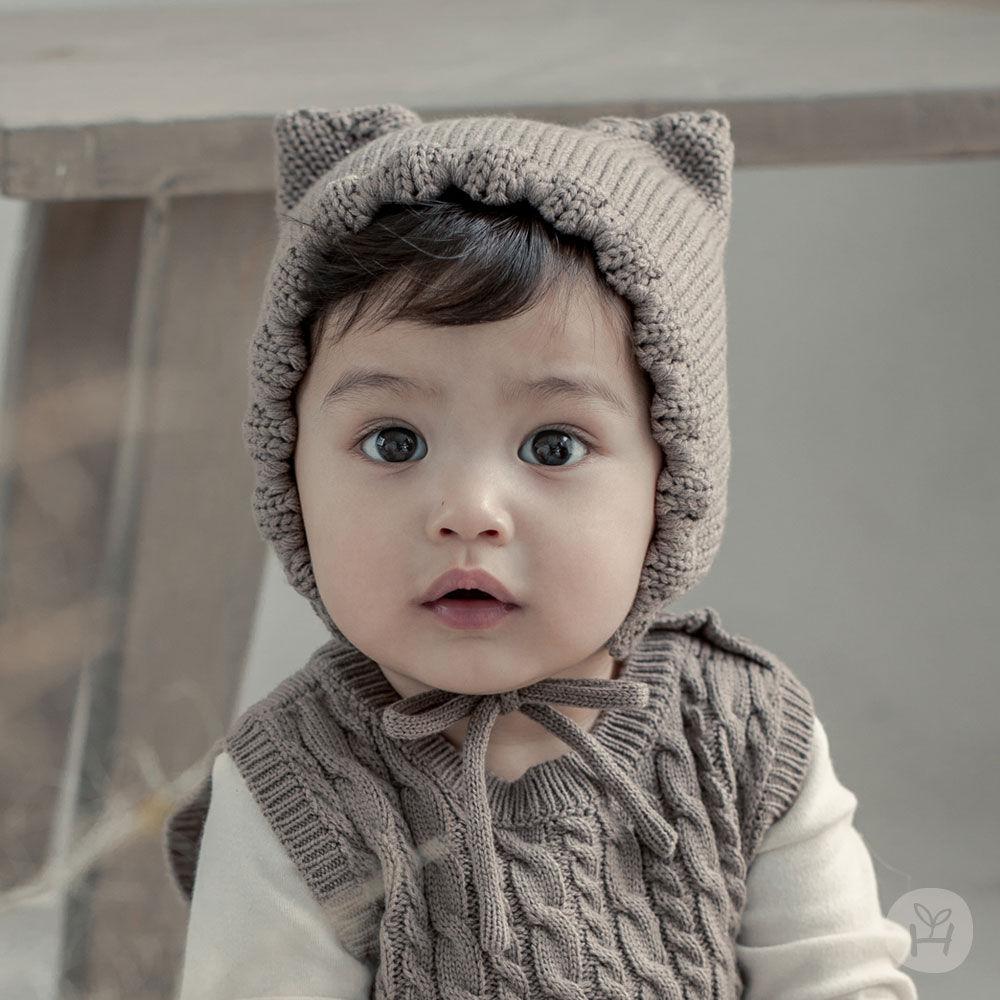 HAPPY PRINCE - BRAND - Korean Children Fashion - #Kfashion4kids - Fla Knit Baby Bonnet