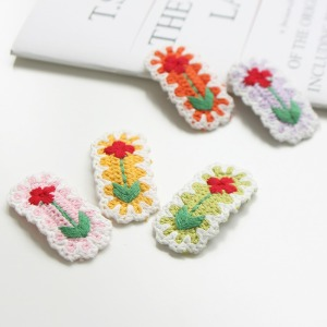 JIREH BOW - BRAND - Korean Children Fashion - #Kfashion4kids - Flower Knit Hairpin [set of 5]