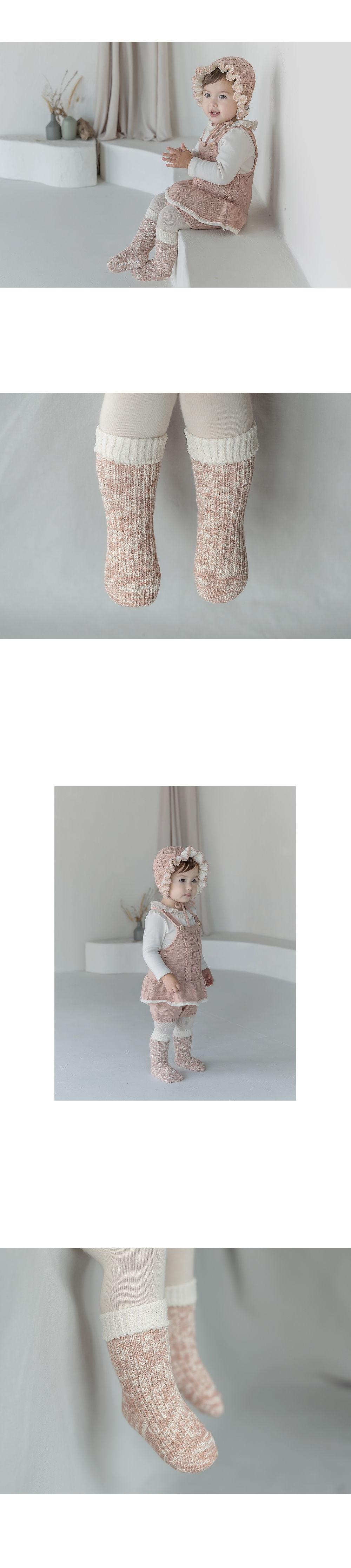 KIDS CLARA - Korean Children Fashion - #Kfashion4kids - Elon Knit Baby Knee Socks [set of 5] - 3