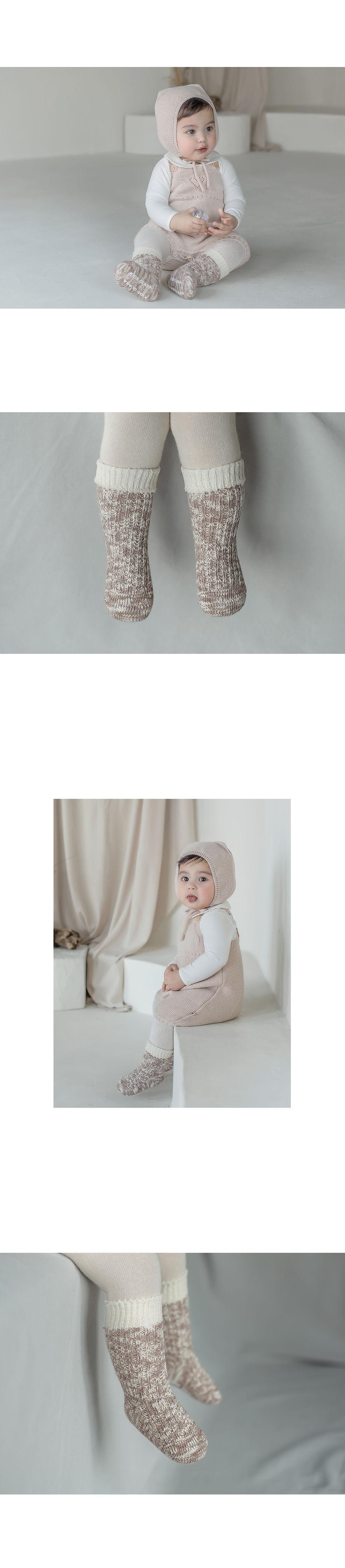KIDS CLARA - Korean Children Fashion - #Kfashion4kids - Elon Knit Baby Knee Socks [set of 5] - 5