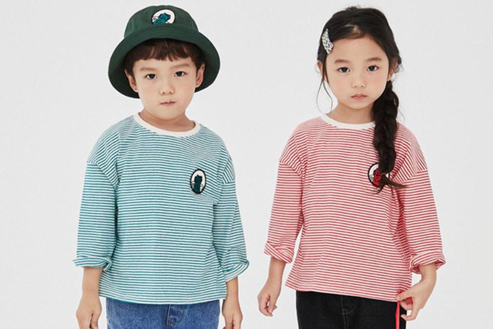 KOKOYARN - BRAND - Korean Children Fashion - #Kfashion4kids - Stripe Wappen Tee