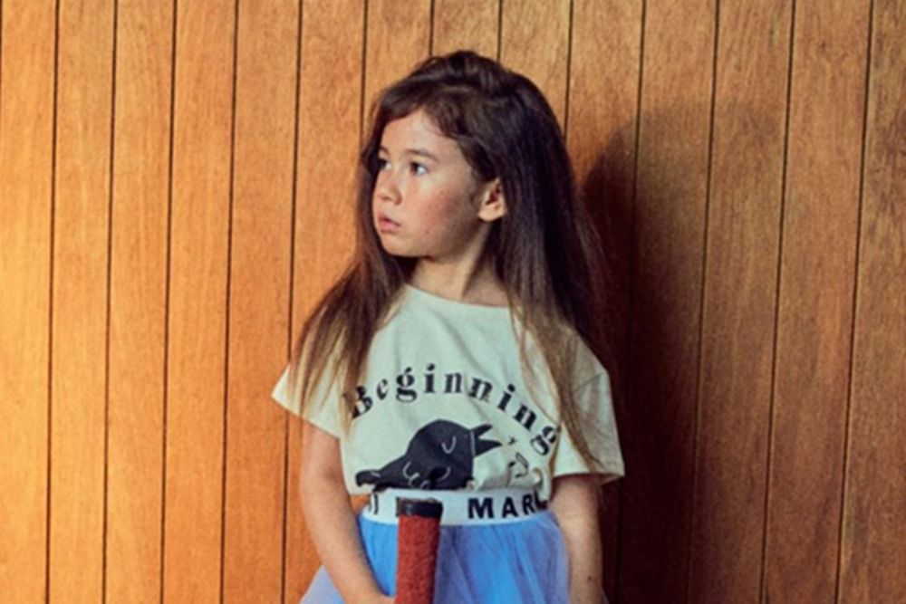 MINI PS MARKET - BRAND - Korean Children Fashion - #Kfashion4kids - Bird Fleece Short Sleeved Tee