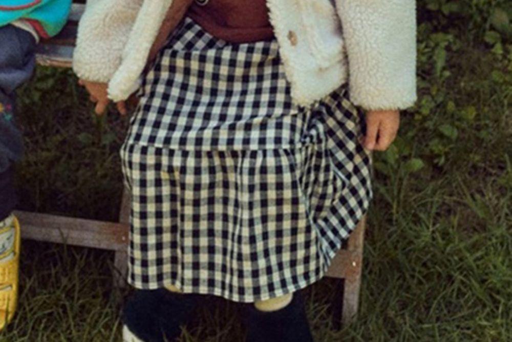 MINI PS MARKET - BRAND - Korean Children Fashion - #Kfashion4kids - Check Smile Long Skirt