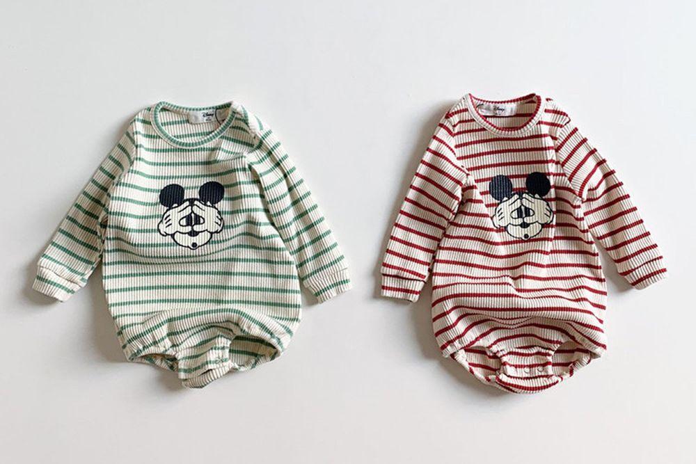 MINI ROBE - BRAND - Korean Children Fashion - #Kfashion4kids - Stripe Mickey Bodysuit