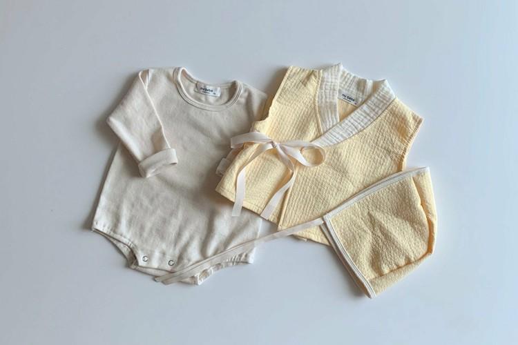 MY BEBE - BRAND - Korean Children Fashion - #Kfashion4kids - Yellow Hanbok Bodysuit Set