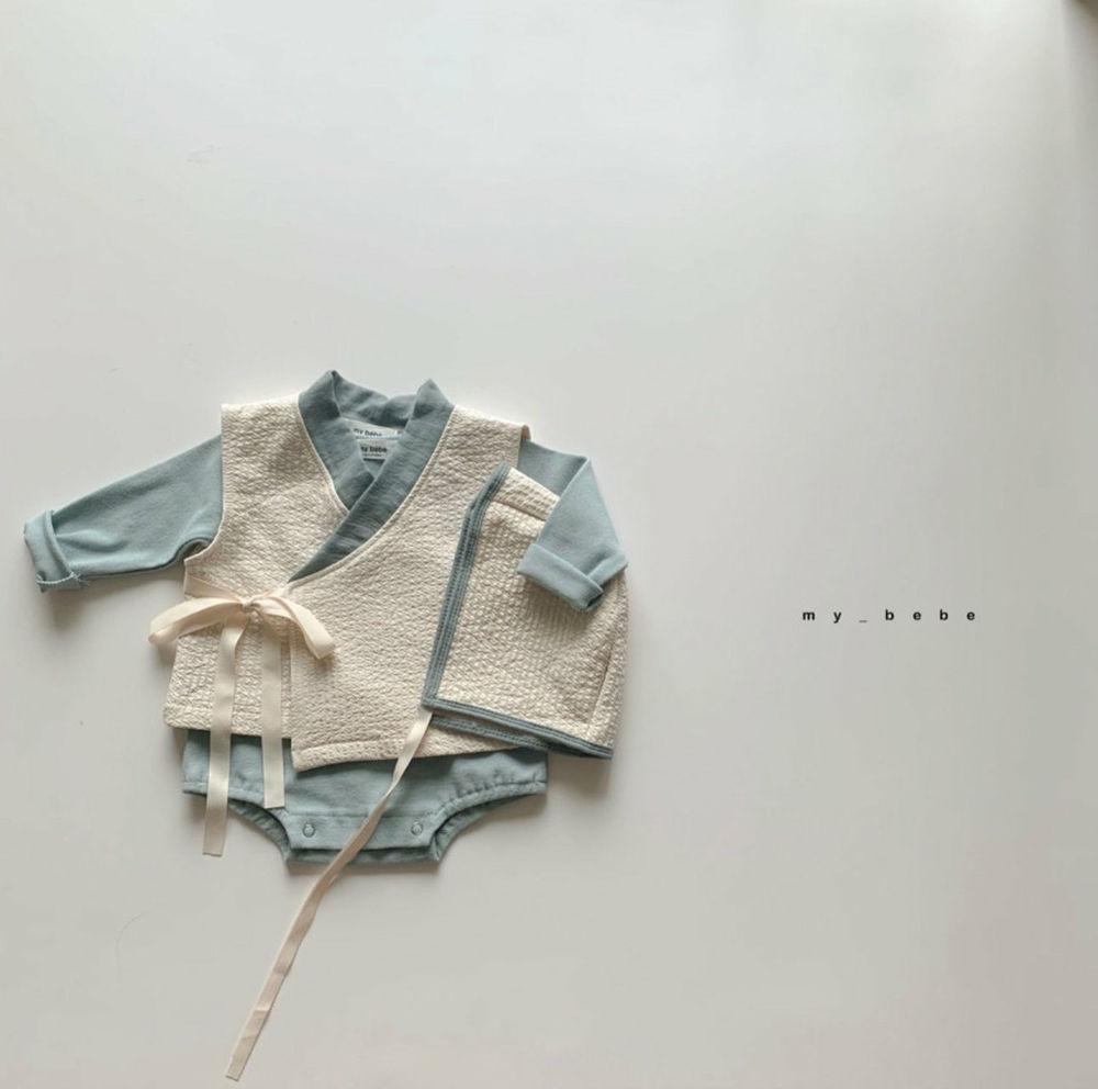 MY BEBE - Korean Children Fashion - #Kfashion4kids - Bebe Blue Hanbok Set - 2