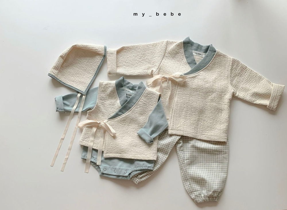 MY BEBE - Korean Children Fashion - #Kfashion4kids - Bebe Blue Hanbok Set - 5