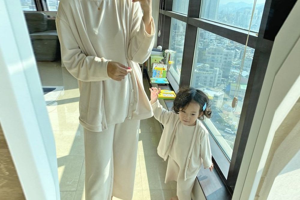 OOTT BEBE - BRAND - Korean Children Fashion - #Kfashion4kids - Adult Masil Top Bottom Set with Cardigan