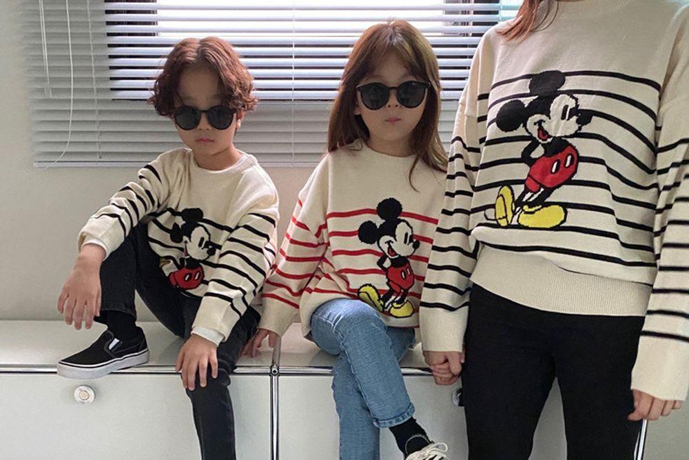 OUR - BRAND - Korean Children Fashion - #Kfashion4kids - Adult Stripe Mickey Knit Pullover