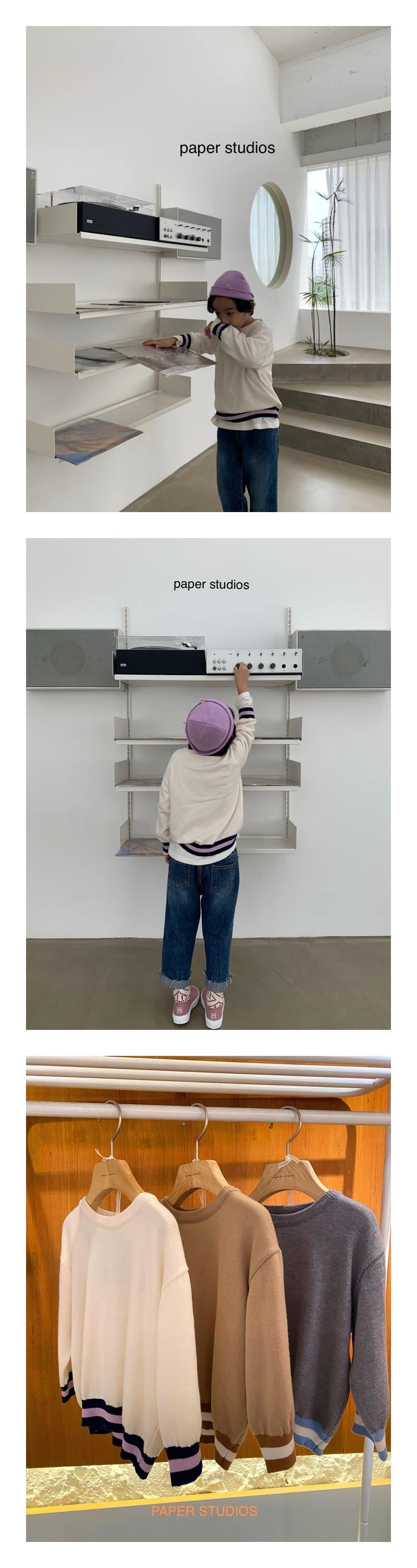 PAPER STUDIOS - Korean Children Fashion - #Kfashion4kids - Bottom Colored Round Knit Pullover