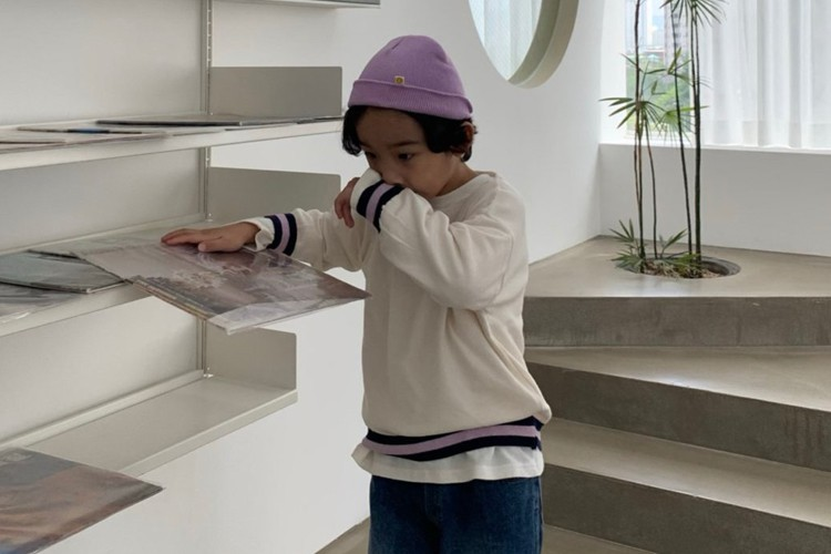 PAPER STUDIOS - BRAND - Korean Children Fashion - #Kfashion4kids - Bottom Colored Round Knit Pullover