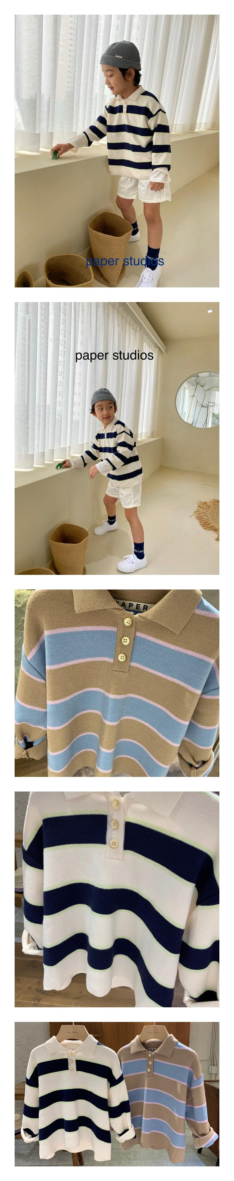 PAPER STUDIOS - Korean Children Fashion - #Kfashion4kids - Collar Stripe Knit Pullover