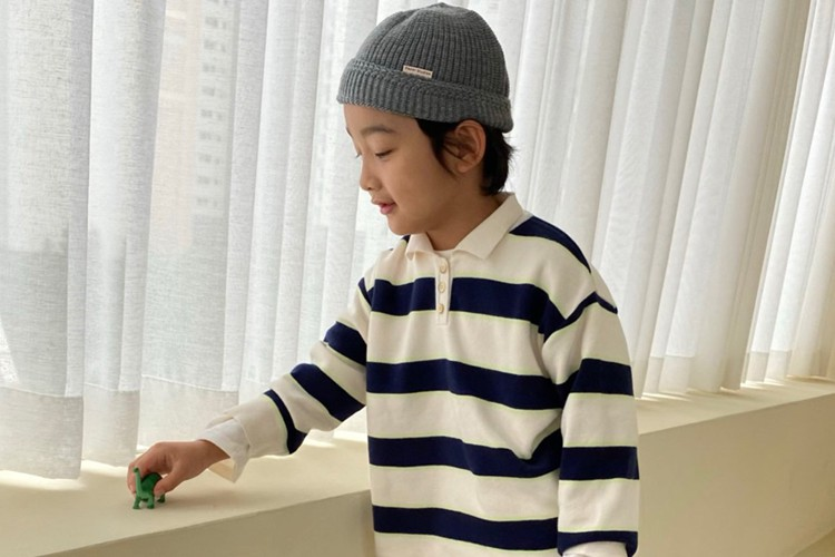 PAPER STUDIOS - BRAND - Korean Children Fashion - #Kfashion4kids - Collar Stripe Knit Pullover