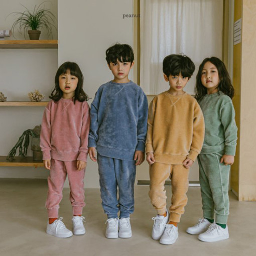 PEANUT - BRAND - Korean Children Fashion - #Kfashion4kids - Warm Veloure Top Bottom Set