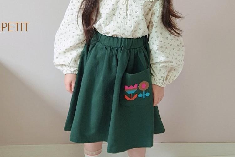 PETIT & PETIT - BRAND - Korean Children Fashion - #Kfashion4kids - Flower Embroidery Skirt