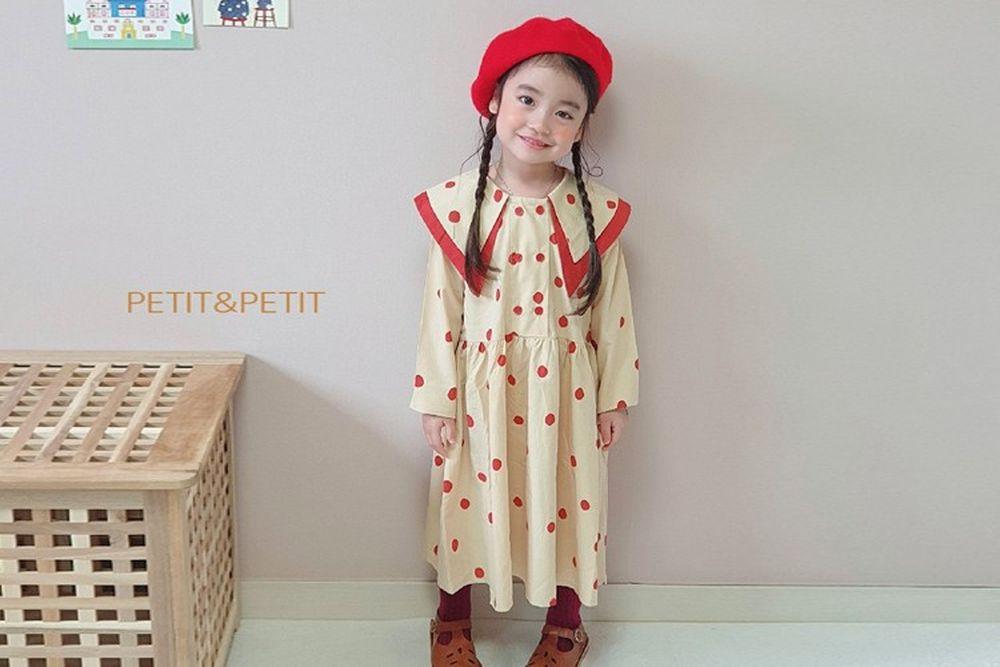 PETIT & PETIT - BRAND - Korean Children Fashion - #Kfashion4kids - Dot Collar One-piece