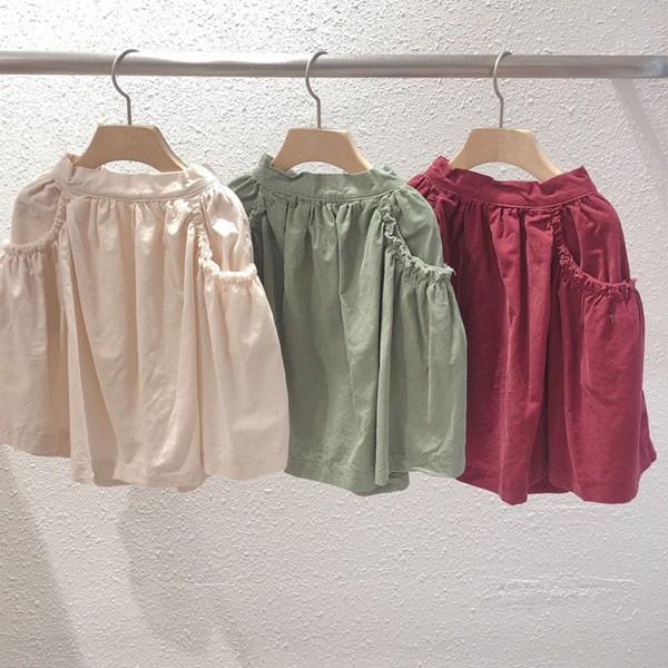 STUDIO M - BRAND - Korean Children Fashion - #Kfashion4kids - Cude Pocket Shirring Skirt