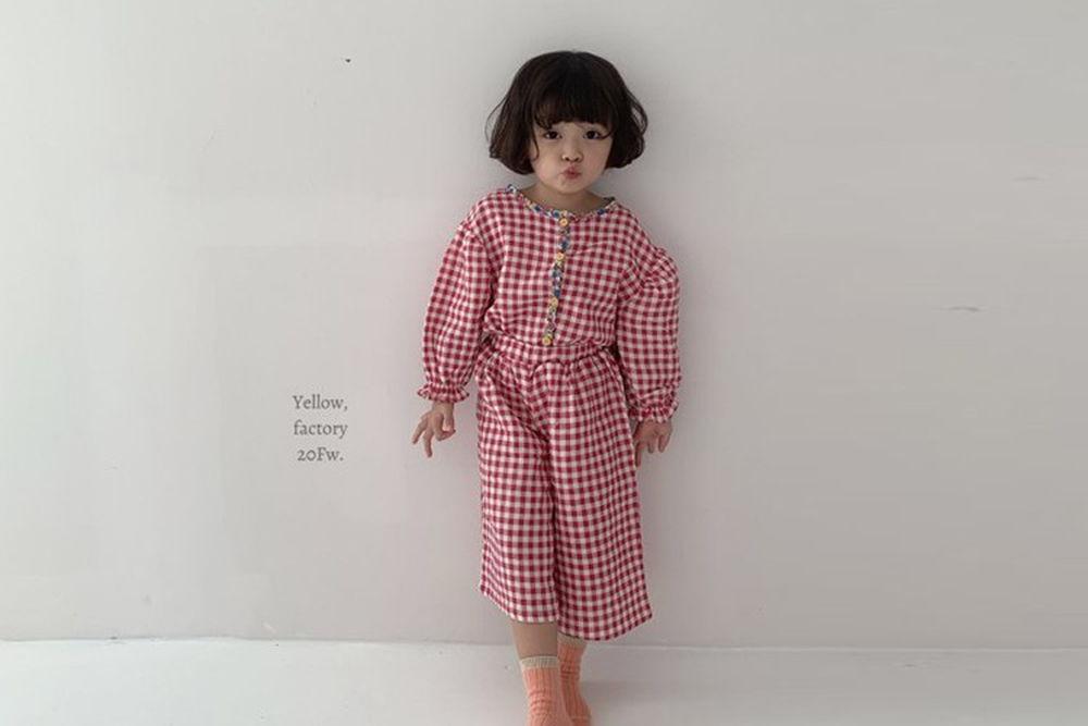 YELLOW FACTORY - BRAND - Korean Children Fashion - #Kfashion4kids - Check Top Bottom Set