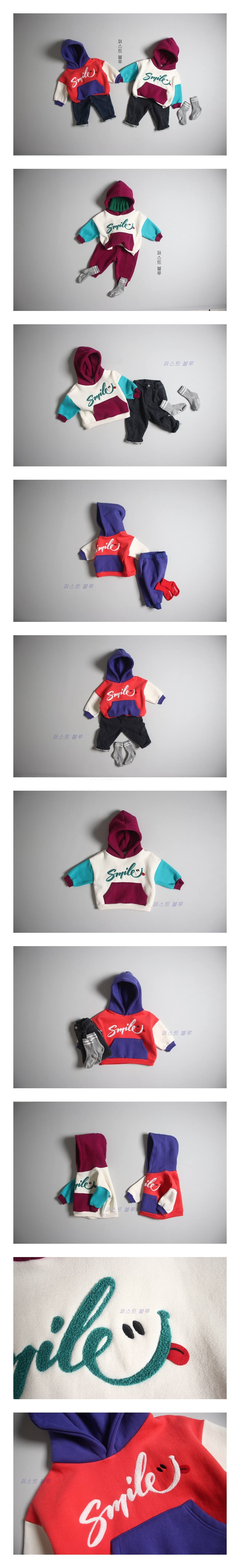 1ST BLUE - Korean Children Fashion - #Kfashion4kids - Smile Colored Hood Top