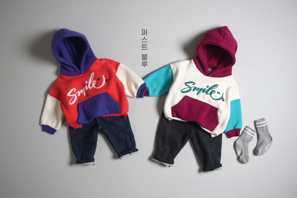 1ST BLUE - BRAND - Korean Children Fashion - #Kfashion4kids - Smile Colored Hood Top