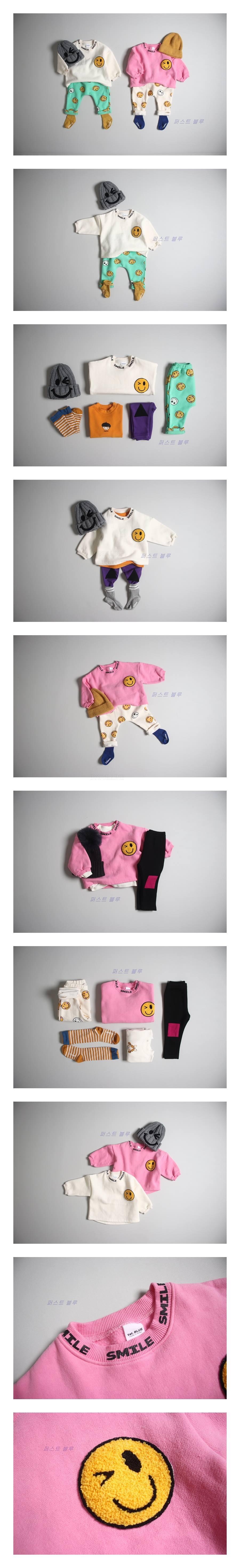 1ST BLUE - Korean Children Fashion - #Kfashion4kids - Wink Smile Tee