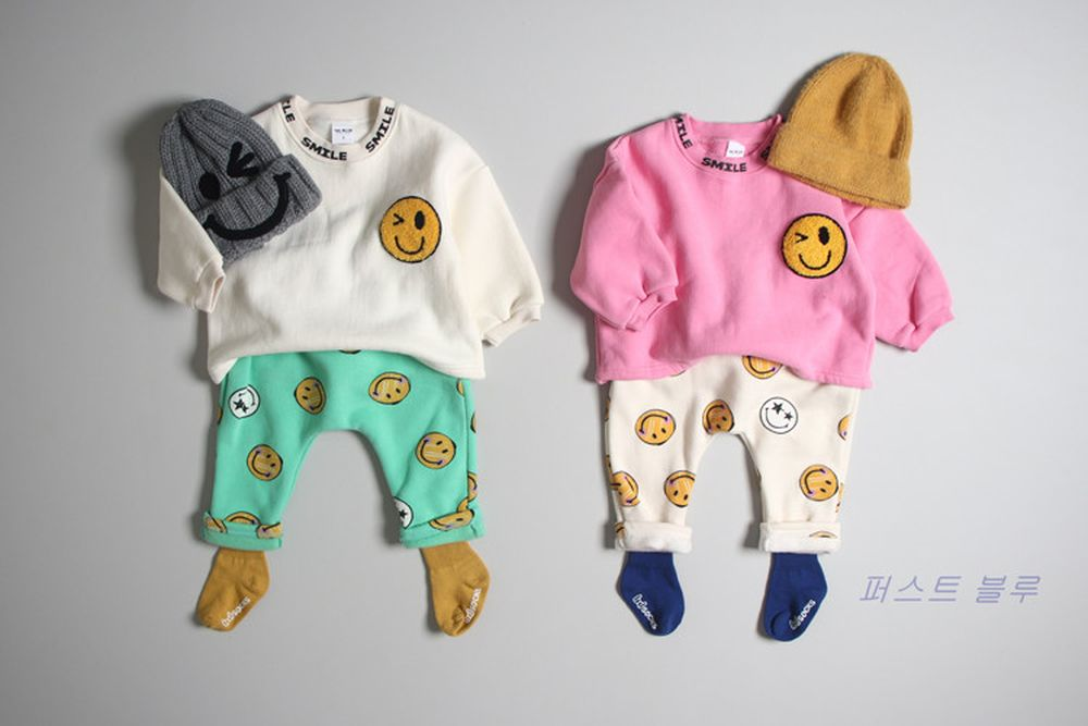 1ST BLUE - BRAND - Korean Children Fashion - #Kfashion4kids - Wink Smile Tee