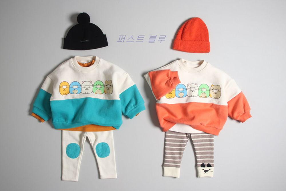 1ST BLUE - BRAND - Korean Children Fashion - #Kfashion4kids - Mask Animals Sweat Shirt