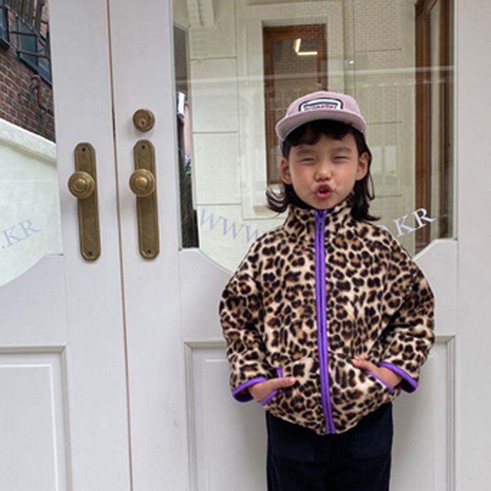 A-MARKET - BRAND - Korean Children Fashion - #Kfashion4kids - Leopard Zip-up Jacket