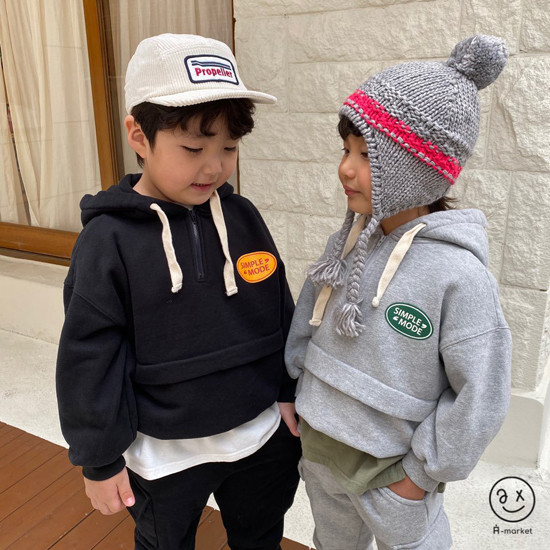 A-MARKET - Korean Children Fashion - #Kfashion4kids - Simple Mode Hood Sweatshirt - 2