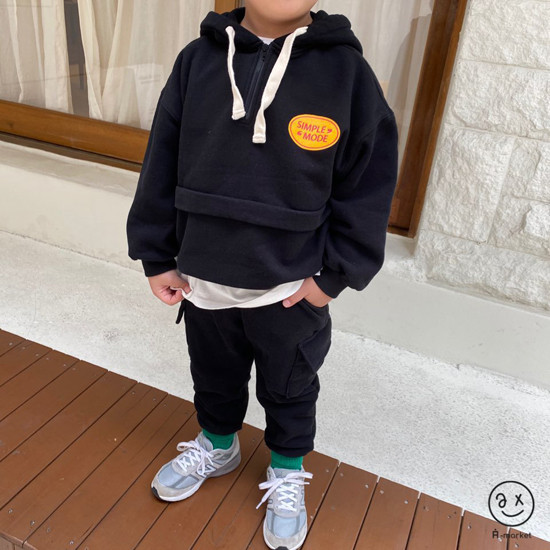 A-MARKET - Korean Children Fashion - #Kfashion4kids - Simple Mode Hood Sweatshirt - 6
