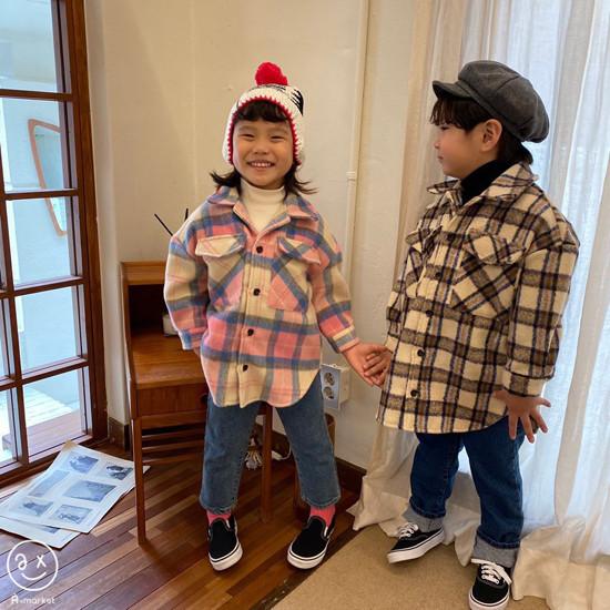 A-MARKET - Korean Children Fashion - #Kfashion4kids - Wool Check Shirt - 3