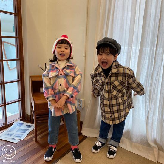 A-MARKET - Korean Children Fashion - #Kfashion4kids - Wool Check Shirt - 5