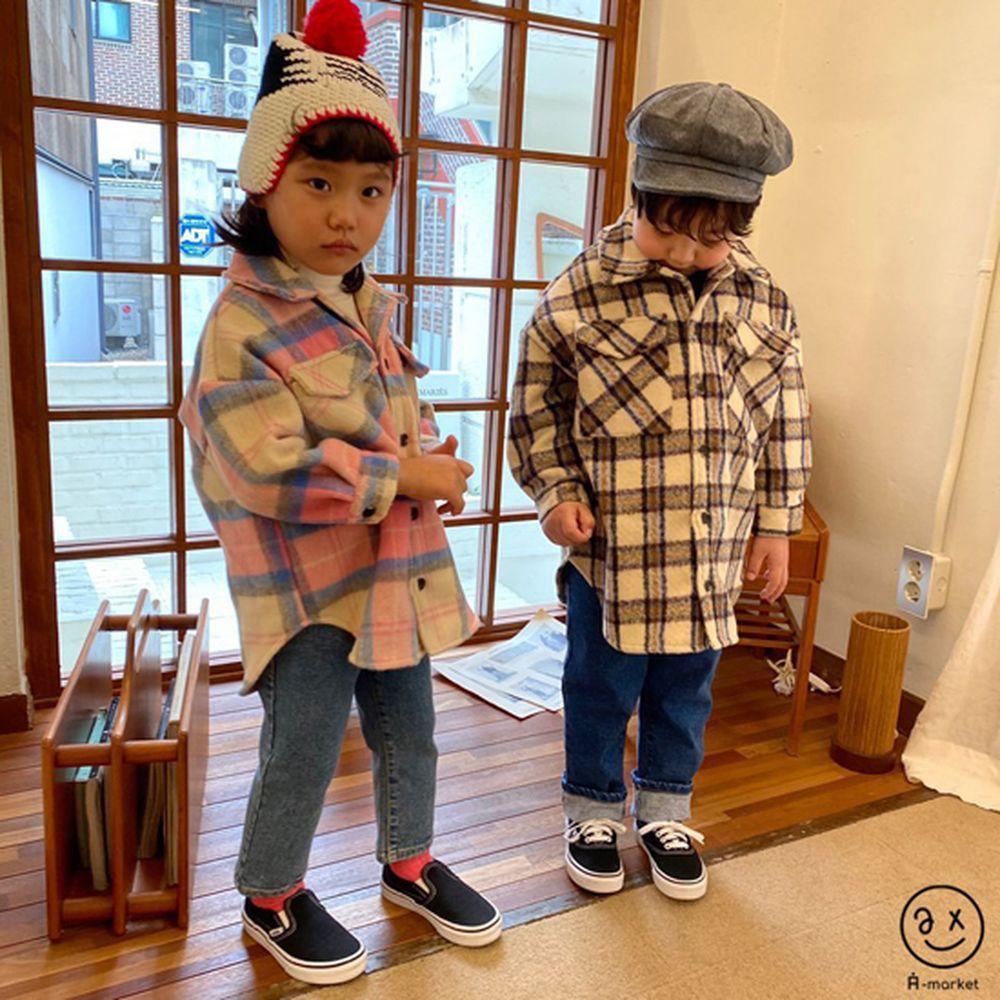 A-MARKET - BRAND - Korean Children Fashion - #Kfashion4kids - Wool Check Shirt