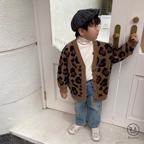 A-MARKET - Korean Children Fashion - #Kfashion4kids - Leopard Cardigan - 3