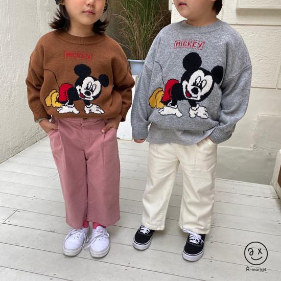A-MARKET - Korean Children Fashion - #Kfashion4kids - Start Mickey Knit Pullover - 2