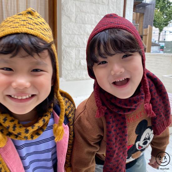 A-MARKET - Korean Children Fashion - #Kfashion4kids - Leopard Muffler & Hat Set - 3