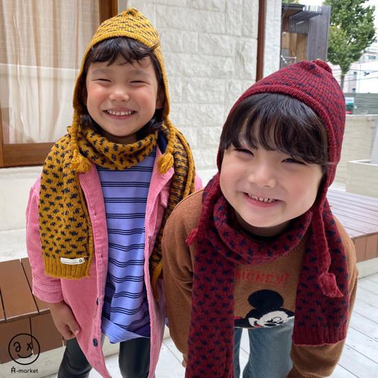 A-MARKET - Korean Children Fashion - #Kfashion4kids - Leopard Muffler & Hat Set - 4