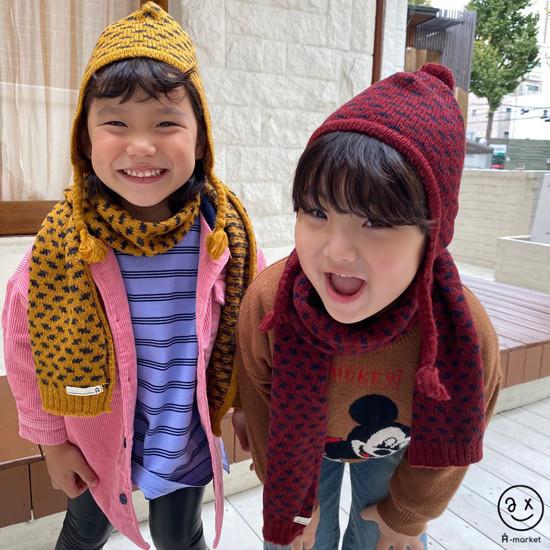 A-MARKET - Korean Children Fashion - #Kfashion4kids - Leopard Muffler & Hat Set - 5