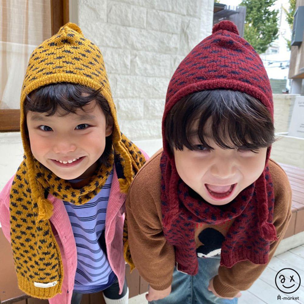 A-MARKET - BRAND - Korean Children Fashion - #Kfashion4kids - Leopard Muffler & Hat Set