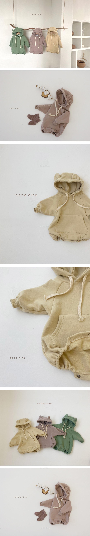 BEBE NINE - Korean Children Fashion - #Kfashion4kids - Bear Hood Bodysuit