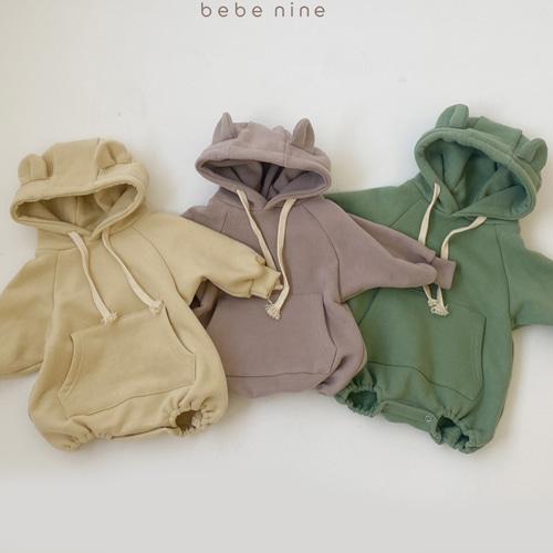 BEBE NINE - BRAND - Korean Children Fashion - #Kfashion4kids - Bear Hood Bodysuit