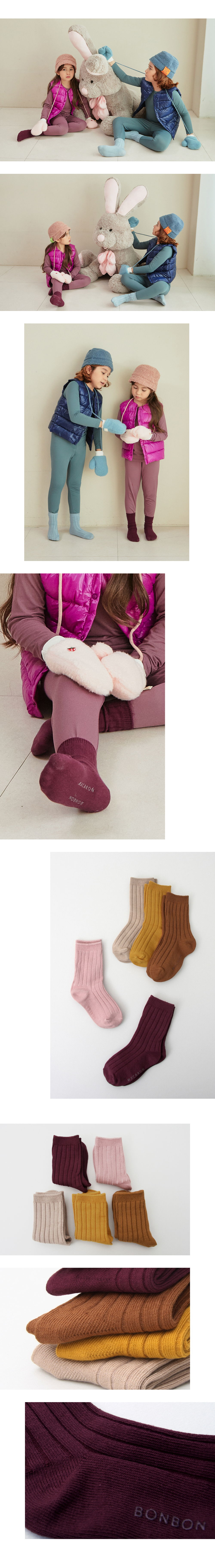 BIMBO BIMBA - Korean Children Fashion - #Kfashion4kids - Winery Socks [set of 5] - 4