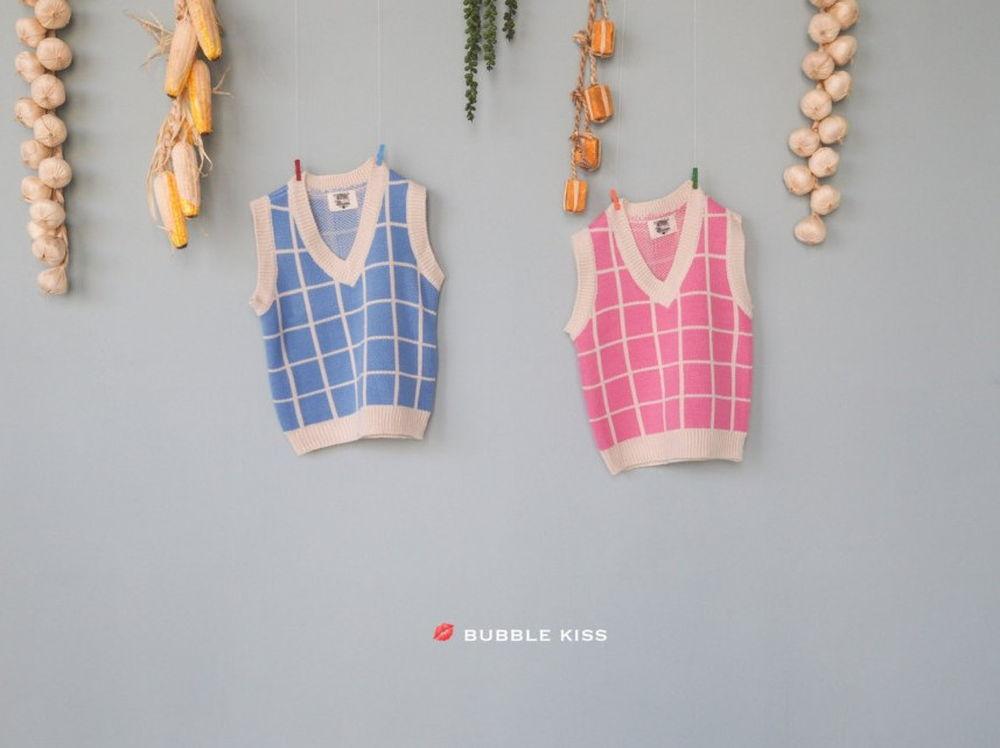 BUBBLE KISS - Korean Children Fashion - #Kfashion4kids - Check Knit Vest