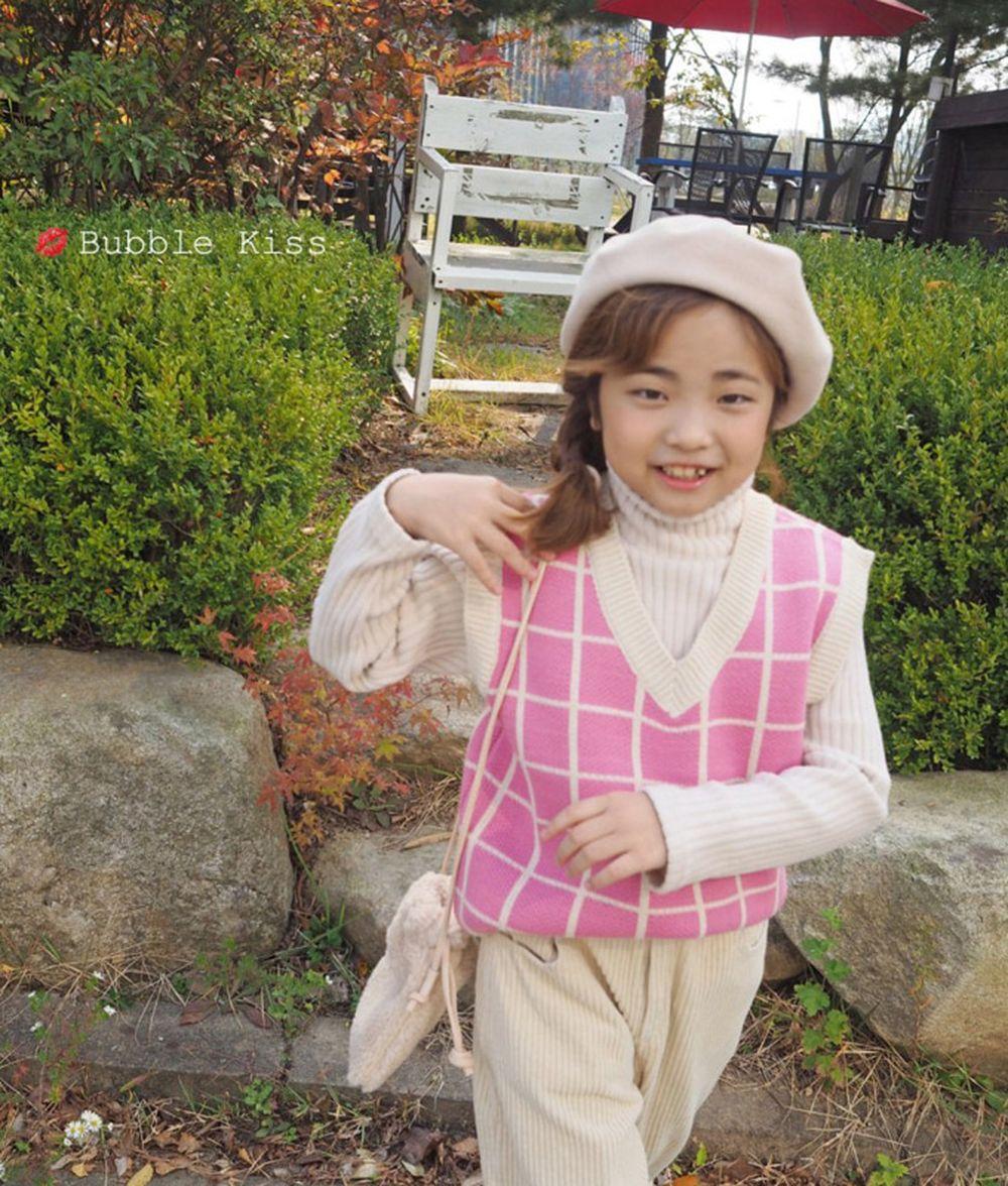 BUBBLE KISS - BRAND - Korean Children Fashion - #Kfashion4kids - Check Knit Vest